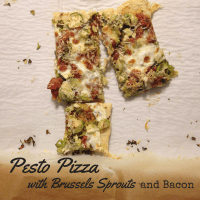 Pesto Pizza with Bacon and Brussels Sprouts