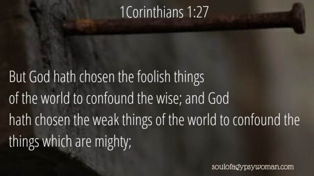 1Corinthians 1:27 But God hath chosen the foolish things of the world to confound the wise; and God hath chosen the weak things of the world to confound the things which are mighty;