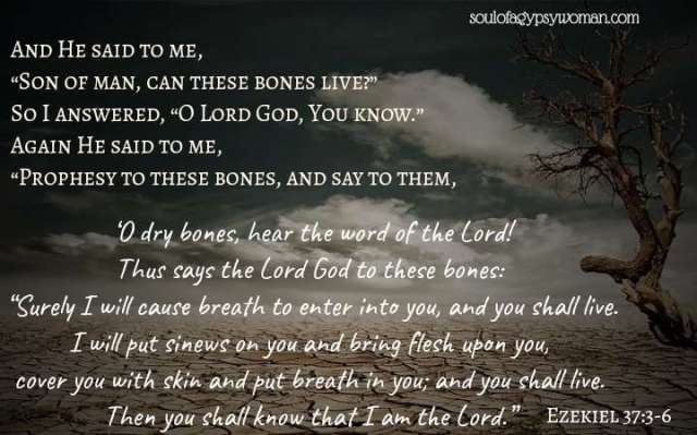 """Ezekiel 37:3-6: And He said to me, """"Son of man, can these bones live?"""" So I answered, """"O Lord God, You know."""" Again He said to me, """"Prophesy to these bones, and say to them, 'O dry bones, hear the word of the Lord! Thus says the Lord God to these bones: """"Surely I will cause breath to enter into you, and you shall live. I will put sinews on you and bring flesh upon you, cover you with skin and put breath in you; and you shall live. Then you shall know that I am the Lord."""""""