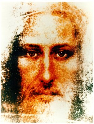 Composite of Divine Mercy images and the Shroud of Turin