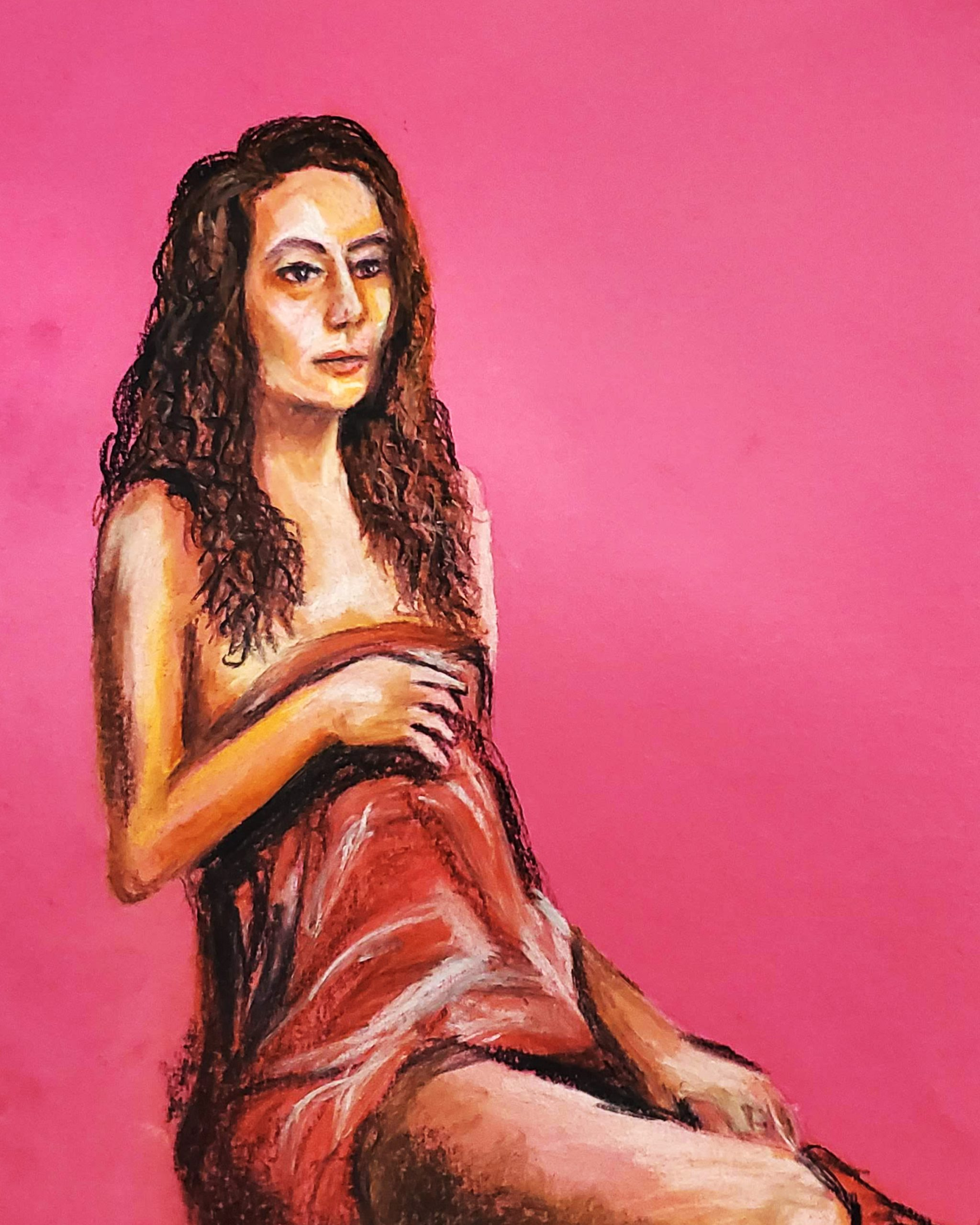 Woman Covered in Pink