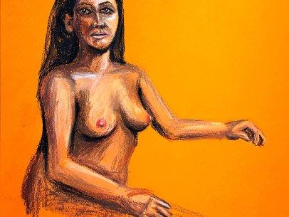 Woman Gazing in Orange