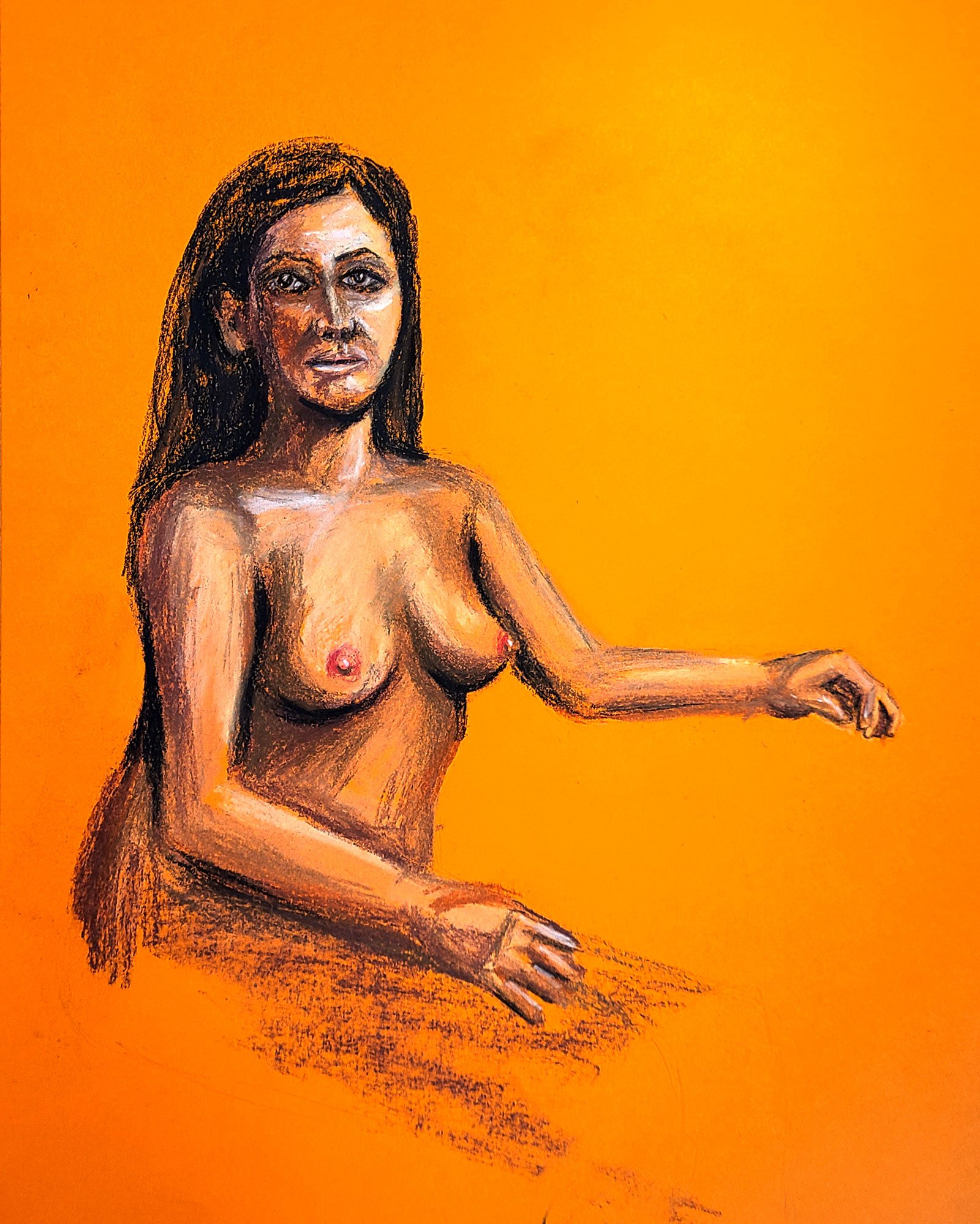 Woman Gazing in Orange