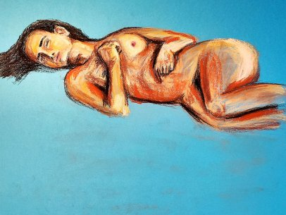 Woman Laying in Blue