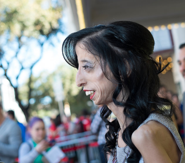 "AUSTIN, TX - MARCH 14:  Lizzie Velasquez arrives at the premiere of ""A Brave Heart: The Lizzie Velasquez Story"" at Paramount Theatre on March 14, 2015 in Austin, Texas.  (Photo by Michael Buckner/Getty Images for SXSW)"