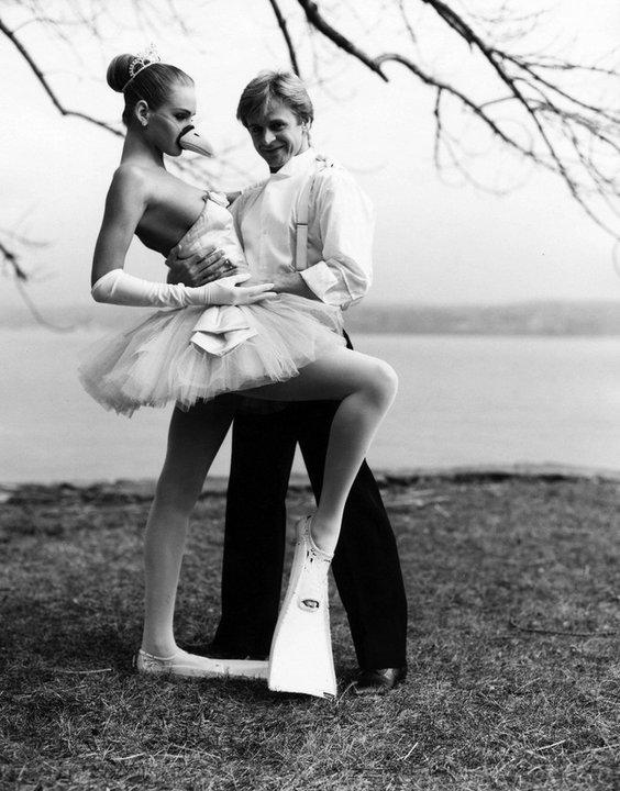 Михаил Барышников и 17-летняя Ума Турман на фото Артура Элгерта, 1987 г.