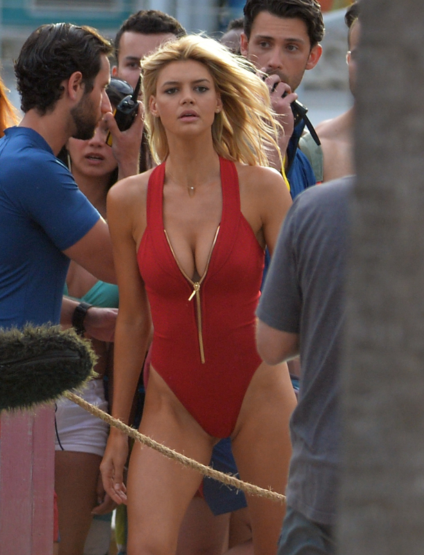 Actor's Zac Efron, Dwayne Johnson, Alexandra Daddario, Ilfenesh Hadera and Sports Illustrated model Kelly Rohrbach on the beach filming a scene for their new movie Baywatch on March 8, 2016 in Miami Beach, Florida. Pictured: Kelly Rohrbach Ref: SPL1243342 080316 Picture by: Brock Miller / Splash News Splash News and Pictures Los Angeles: 310-821-2666 New York: 212-619-2666 London: 870-934-2666