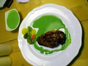 Anniversary 2012 - Grilled Chicken breast with spicy rub, herb sauce and sad excuse of veggies