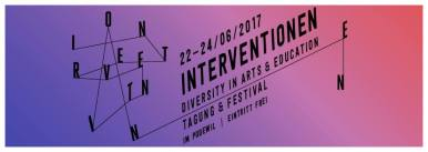 June 22: INTERVENTIONEN 2017 - DIVERSITY IN ARTS & EDUCATION (22nd-24th June 2017) The INTERVENTIONEN 2017 invite to a practice-oriented un-learning, dis- and recovering of power-critical cultural practices of marginalized actors, experts, representatives within the critical diversity and professional practice as well as groups from the independent scene and cultural institutions. In doing so, we would like to offer spaces for a reflective practice, show common options for action and support the transfer of successful activities and methods into practice. THURSDAY 6:00 - 8:00 pm Kontext Asyl, a group of 5 Critical Friends who analyze the field of cultural education work from and with asylum seekers, invite you to a talk with self-organized groups. We will be asking how cultural education in refugee contexts relates to cultural and political work. Following this discussion, Mensch, Willkommen!, a project of the GRIPS Theater for newly arrived and old-time Berliners, presents their best-of-program. This event will provide plenty of opportunities for exchange and networking. FRIDAY & SATURDAY During the day, there will be workshops, lectures and panels with actors from theory and practice presenting strategies and methods that foster diversity in personnel, audience and program and create access to self-representation of marginalized actors: Alternative approaches to the production of knowledge (current and historical), decolonial perspectives in art production, interventions (for structural change), questions of visibility and accesses in the cultural sector, approaches and programs for diversification in cultural enterprises and cultural administrations at the municipal, federal states' and national level. In the evenings various artistic projects with empowering and participative approaches dealing with the self-representation of marginalized communities will be shown. At the closing event on Saturday evening there will be local and international music acts, who in 