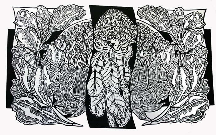 Waratahs Linocut - First proof print