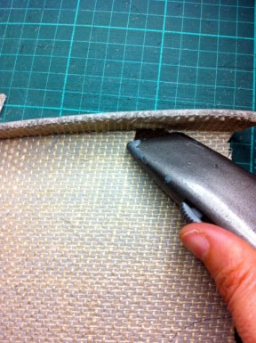 Cutting back edges of linoblock 4