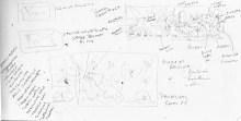 Sketchbook design notes for Seaside Wildflowers