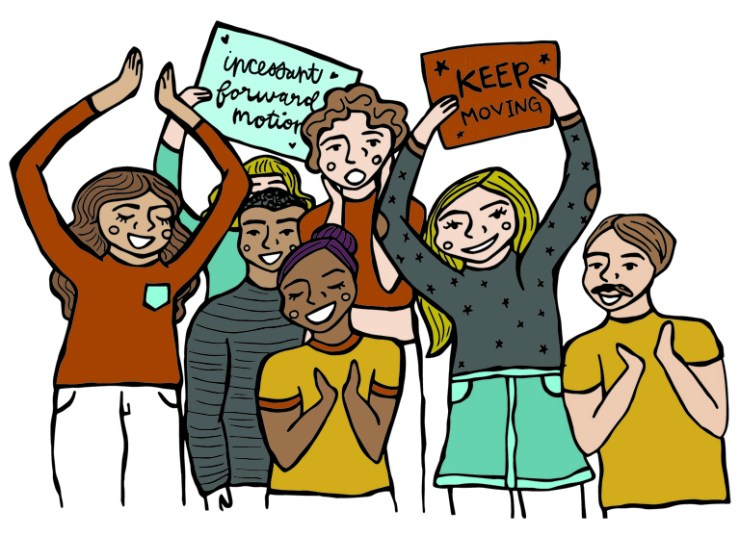 cheering for the Imogene team