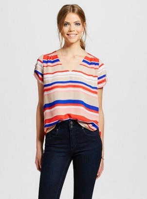 Striped Roll Cuff Short Sleeve Top - $17.99