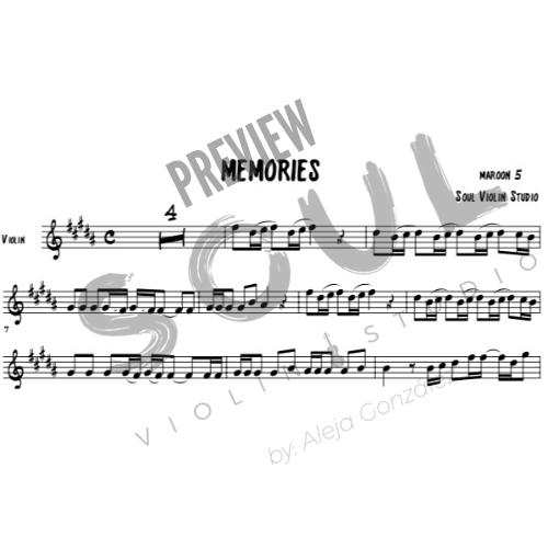 Memories Maroon 5 Violin Cover Music Sheet Soul Violin Studio