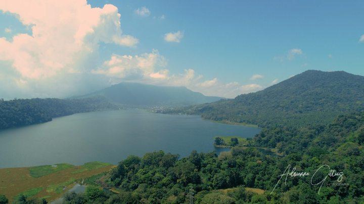 Twin Lakes, The Bukit, Bali, Indonesia, drone, aerial, green, lush