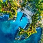 aerial, blue lagoon, nusa ceningan, bali, indonesia, drone