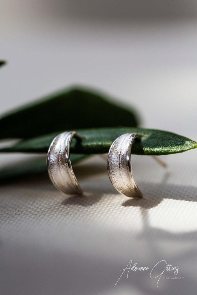 Picual olive leaf silver huggie earrings, jewellery