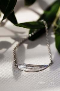 Picual olive leaf silver chain bracelet, jewellery