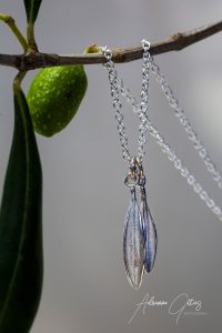 Picual olive leaf silver necklace, jewellery