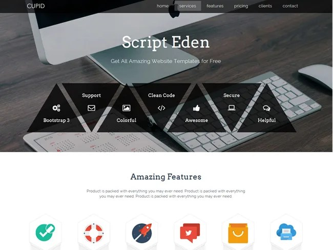 Cupid – One Page Free Bootstrap Template