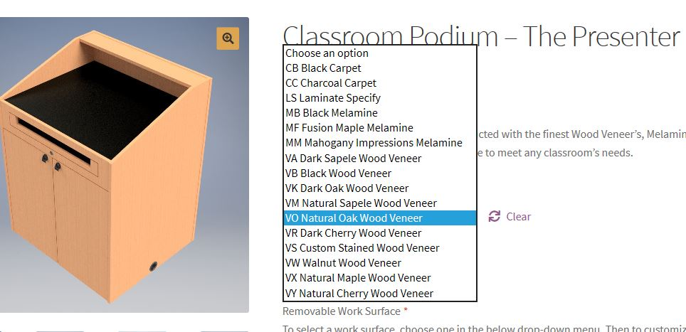 the sixteen finish options for a classroom podium - How do I purchase a podium online