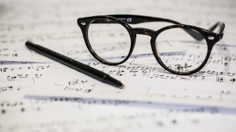 glasses and sheet music