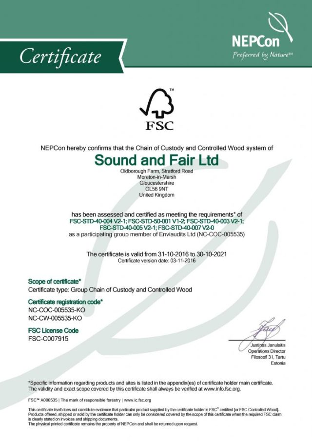 FSC certificate for Sound and Safe