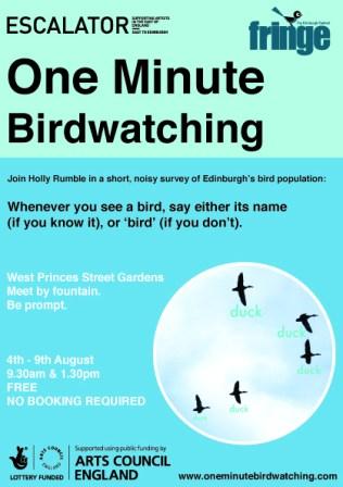 One Minute Birdwatching flyer