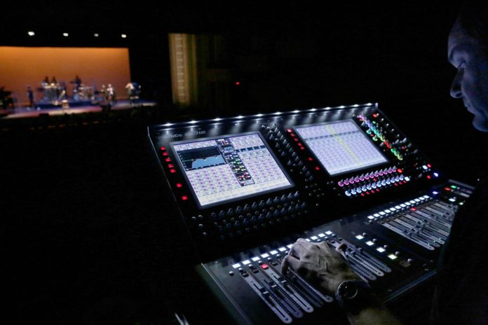 Chris Evans mixing a show at the Lucas Theatre on one of the festival's DiGiCo SD12 consoles supplied by Rock N Road Audio (photo credit: Elizabeth Leitzell)