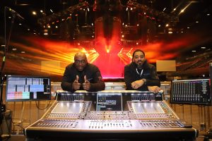 Monitor engineer Marlon John (left) and FOH engineer Kevin Brown (right) behind the DiGiCo SD5 house console supplied by Eighth Day Sound for the Nicki WRLD tour