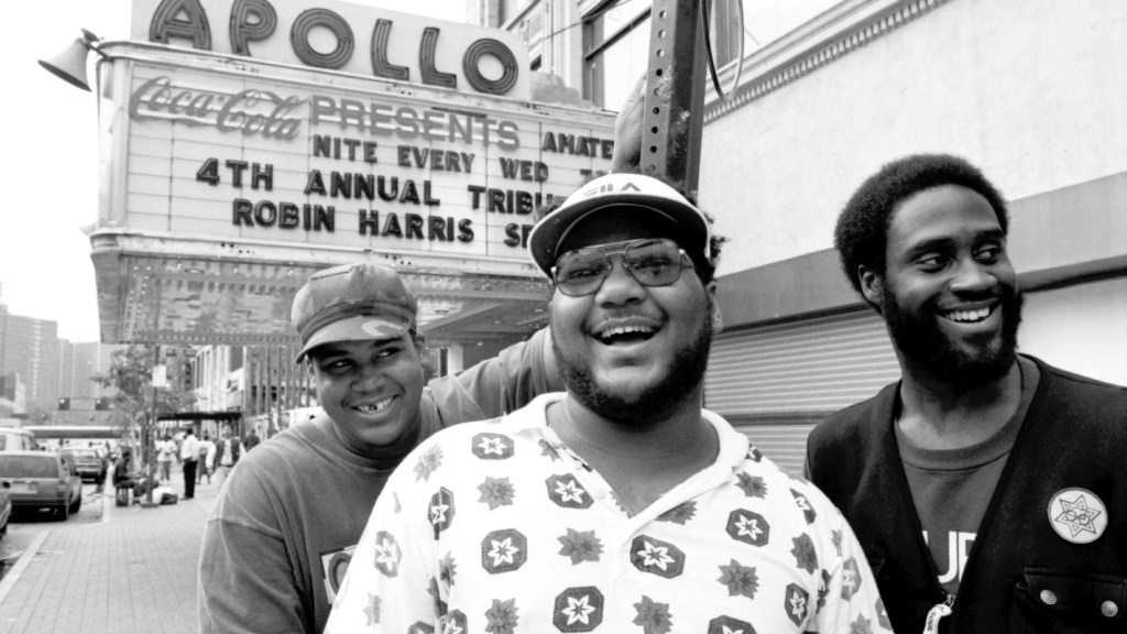 David Jude Jolicoeur aka Trugoy (from left), Vincent Mason aka P.A. Mase and Kelvin Mercer aka Posdnuos pose for a portrait outside the Apollo Theater in Harlem in September 1993