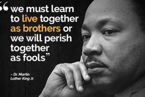 We must learn to live together as brothers or we will perish together as fools. MLK Jr.