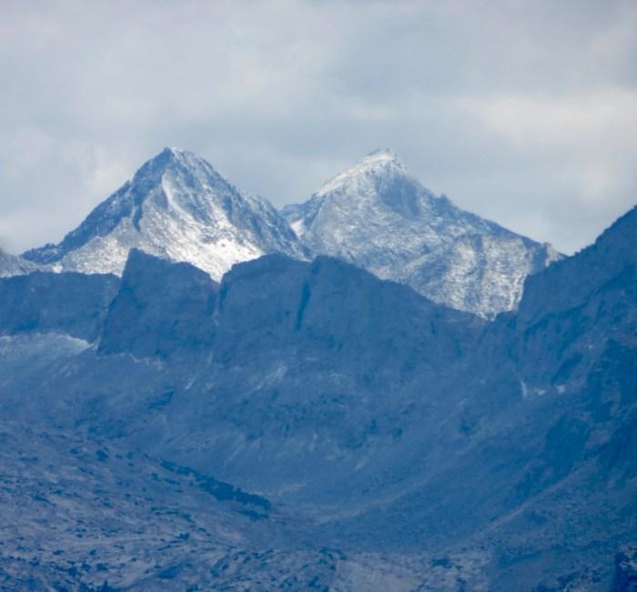Telephoto shot of mountain peak