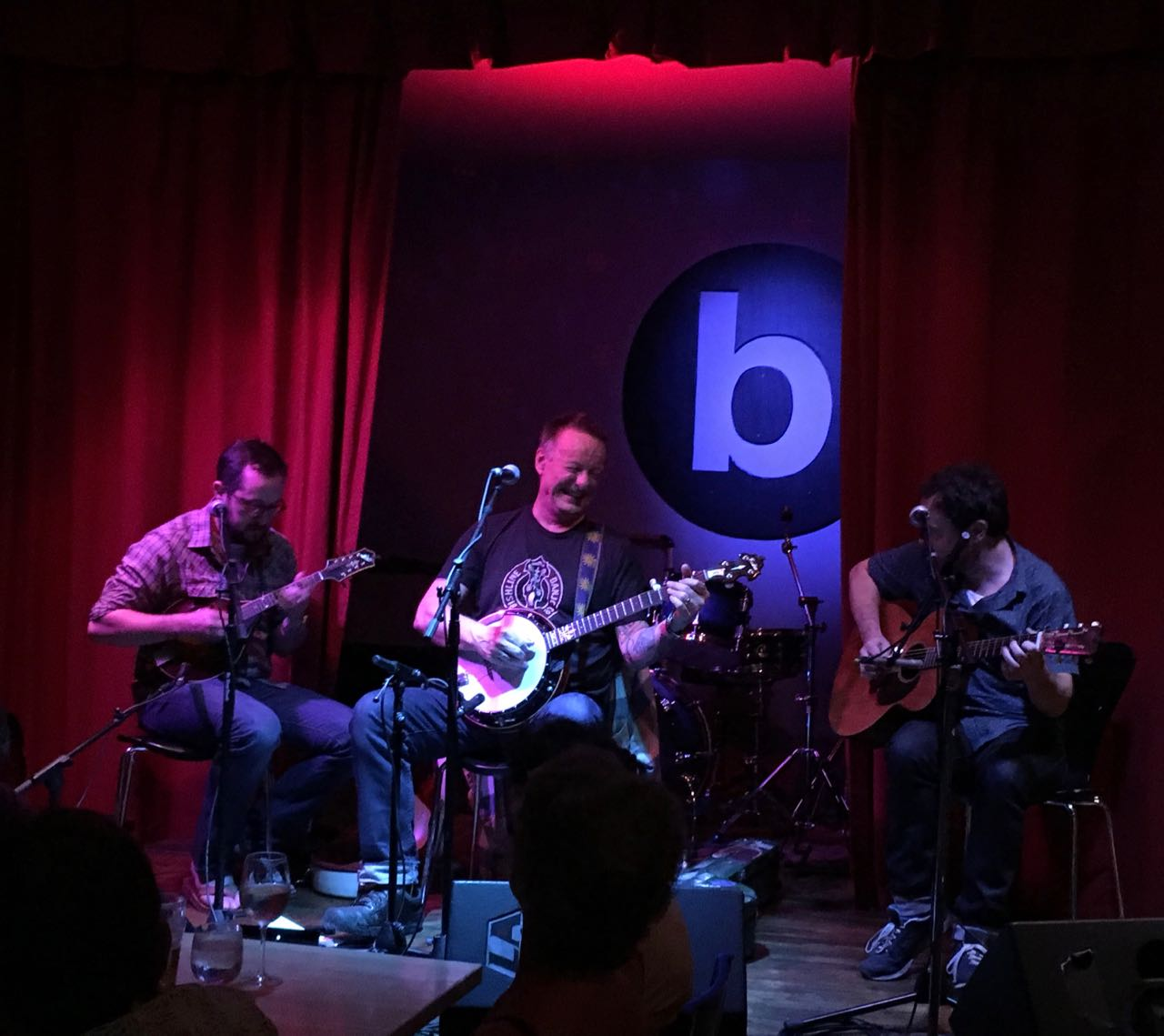 Danny Barnes - banjo, Joe Walsh - mandolin, Grant Gordy - guitar on stage at b side Oneonta