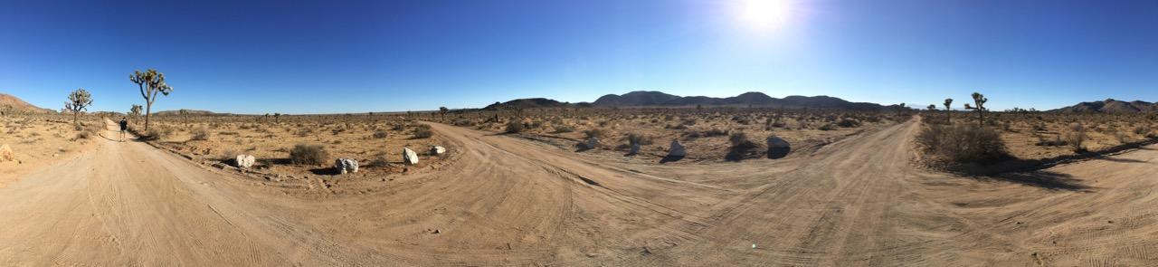 Crossroads panorama in desolate looking desert, Joshua Tree