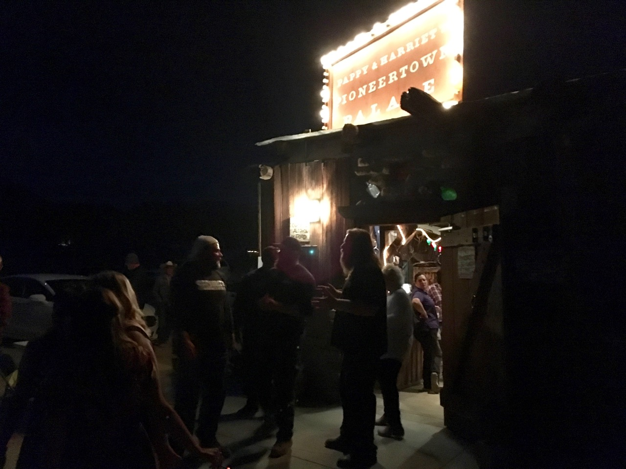 People outside Pappy and Harriets, Pioneertown