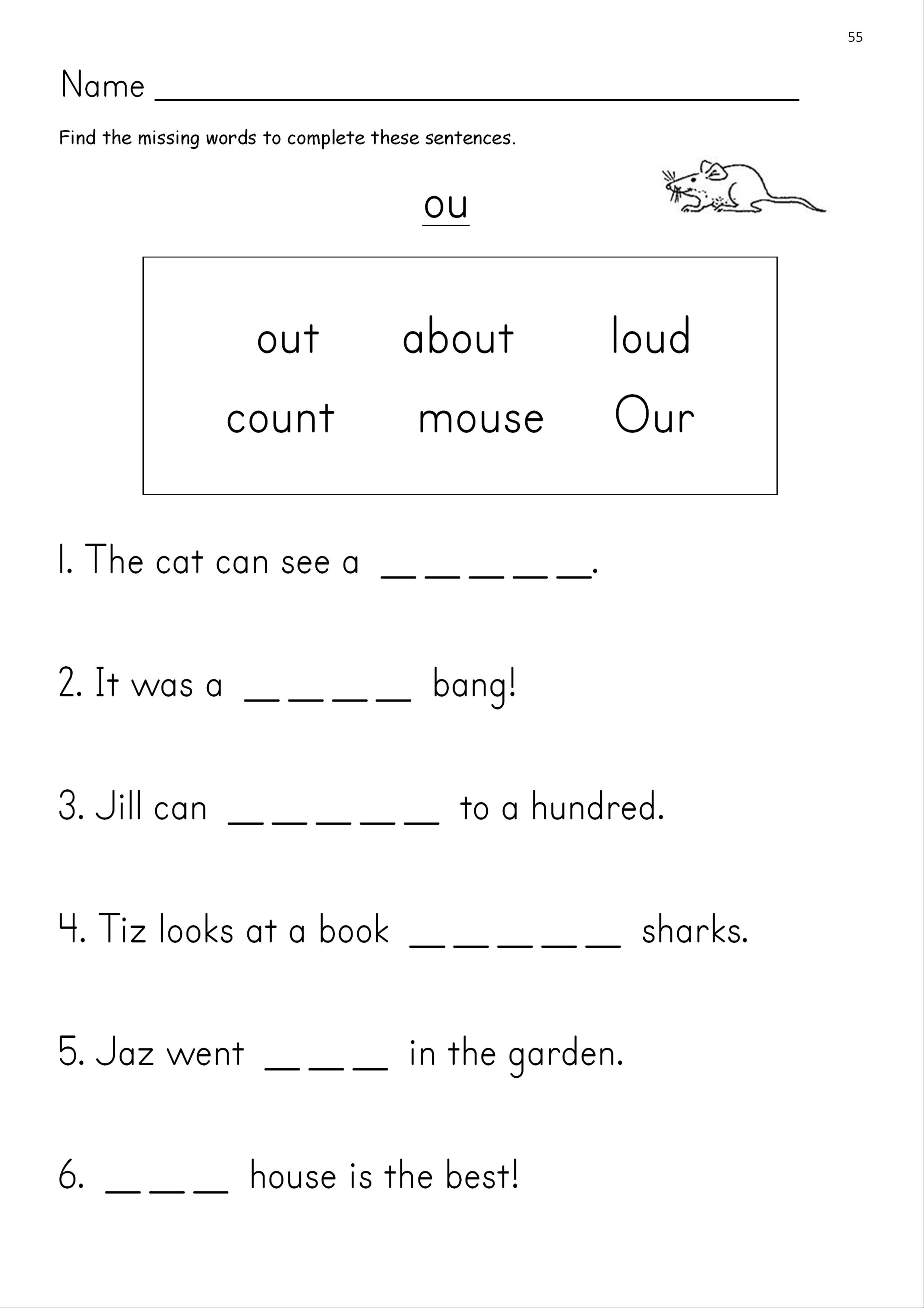 Ou Phonics Worksheets