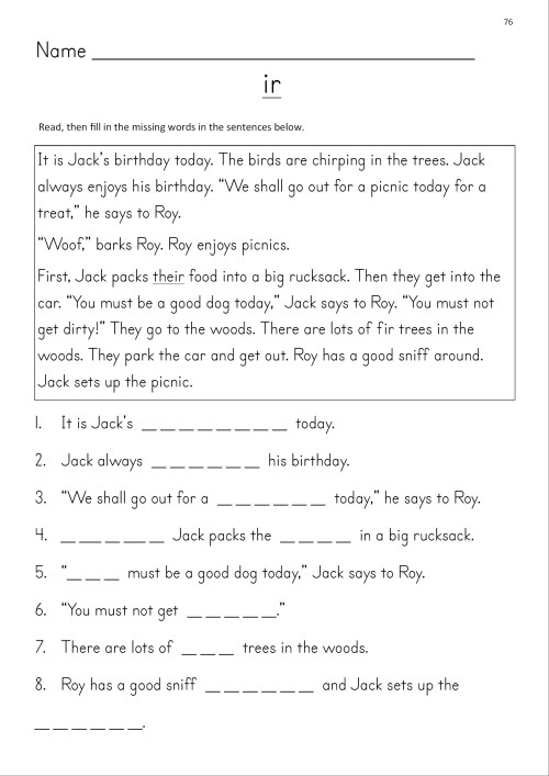small resolution of Er Ir Ur Phonics Worksheets   Printable Worksheets and Activities for  Teachers