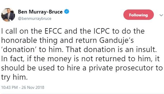 I call on the EFCC and ICPC to?return Ganduje?s insulting ?donation? to them - Senator Ben Bruce