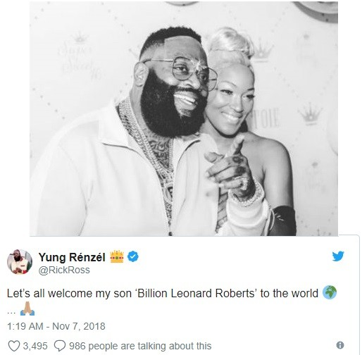 Rick Ross welcomes a baby boy with girlfriend Brianna
