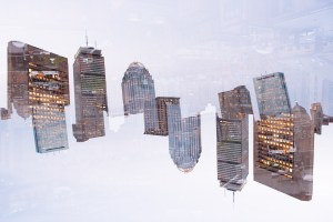 boston skyline double exposure