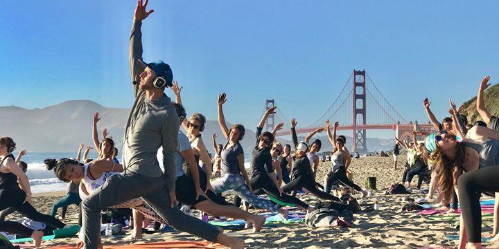 Silent disco beach yoga