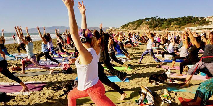 Saturday Silent disco beach yoga