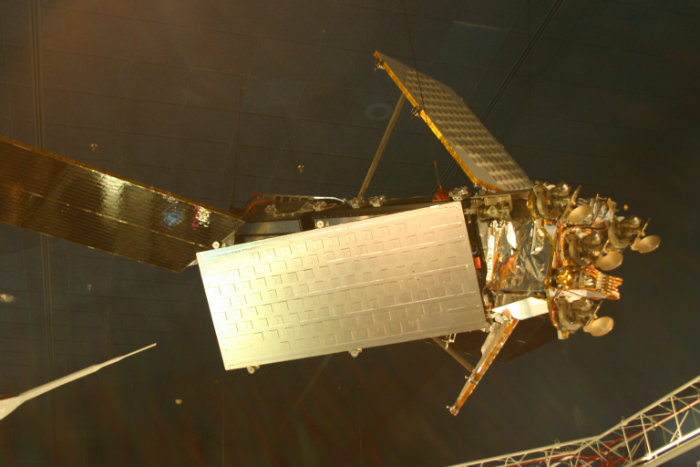 Iridium satellite, constructed entirely from spares and donated by Motorola to the National Air and Space Museum