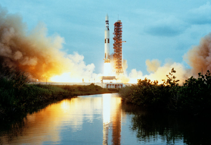 Launch of the modified Saturn V rocket carrying the Skylab space station