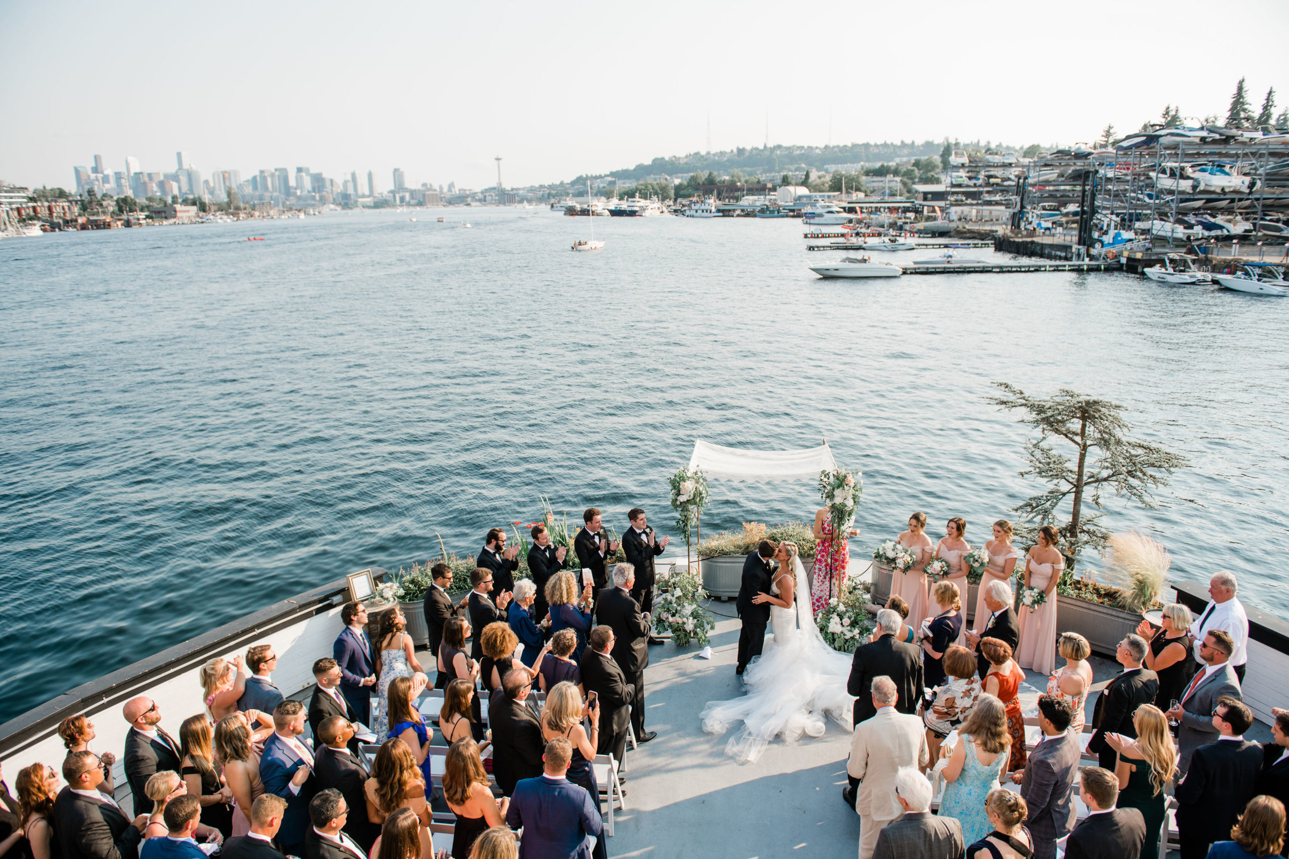 first kiss as husband and wife on MV Skansonia wedding photo