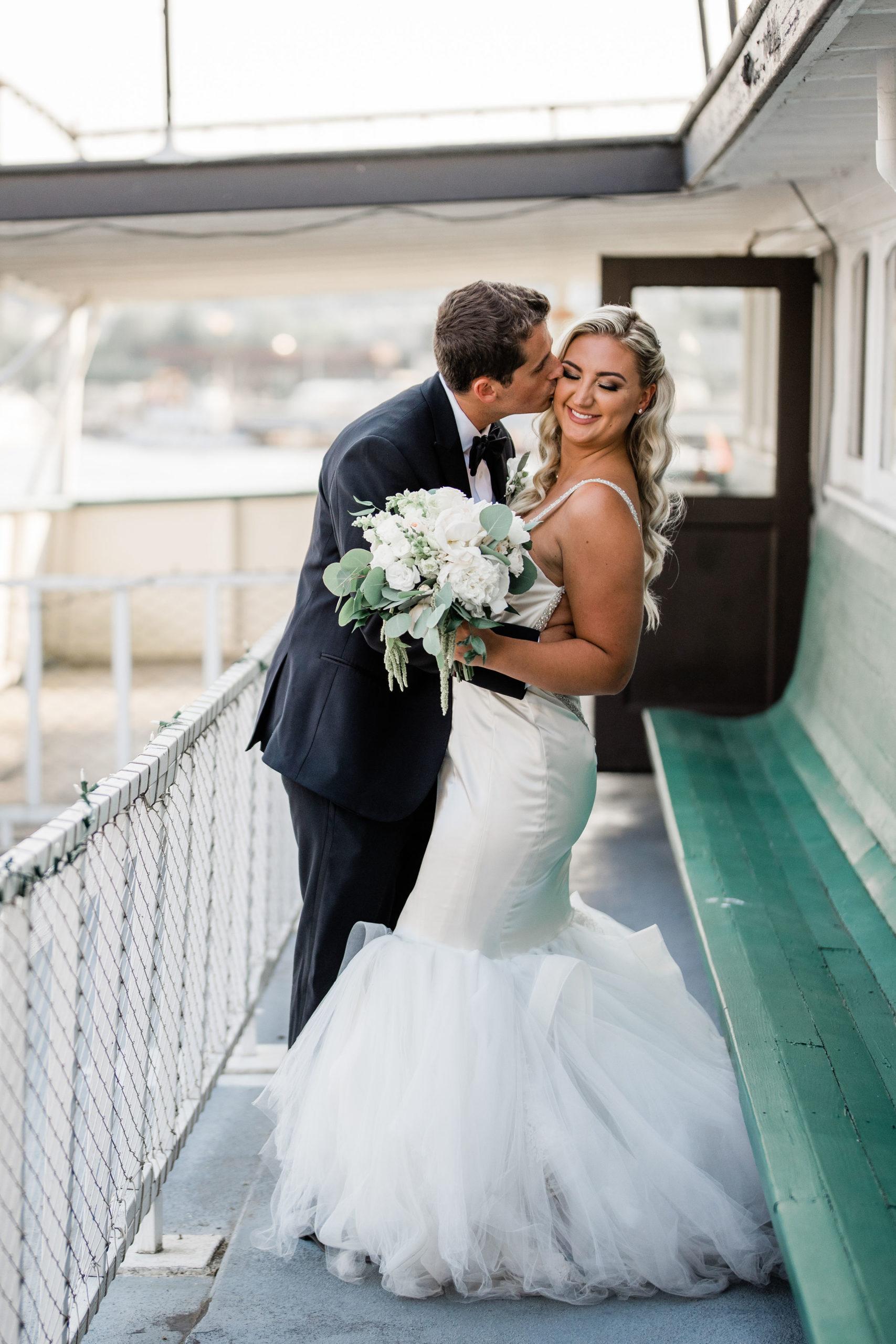 romantic portrait after getting married on MV Skansonia