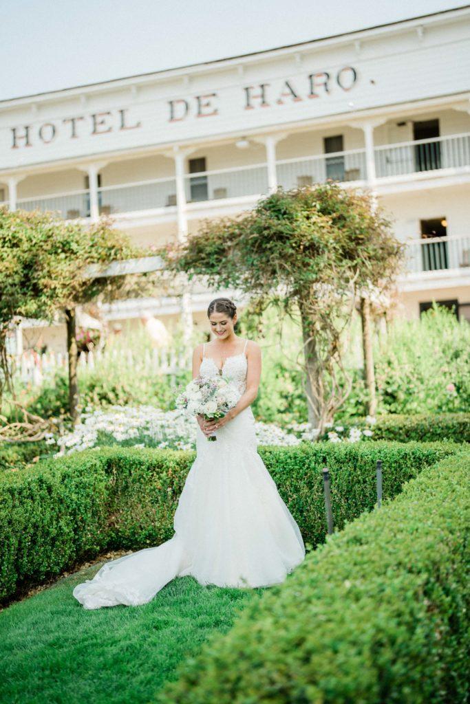 bridal portraits at Roche Harbor Resort wedding