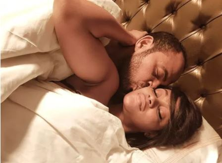"""""""Yoruba Demons"""": Ramsey Nouah And Damilola Adegbite Pictured In Bed On Set (See Photos)"""